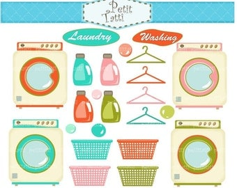ON SALE Laundry clip art > Household clipart, washing machine clip art, retro washing clipart, retro laundry