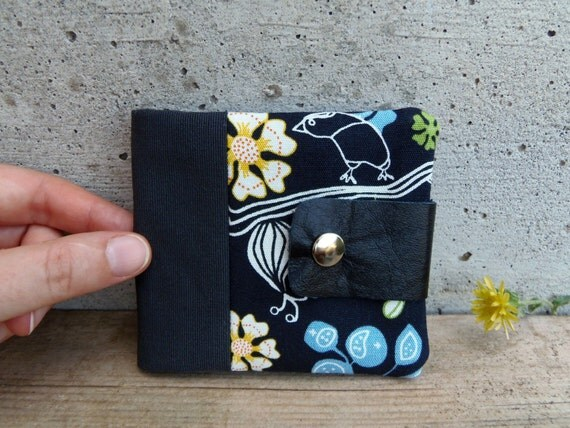 Fabric wallet in black with flowers and birds