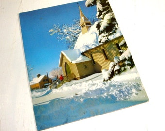 Vintage Christmas Card, Church, Snow, Natural Color Photography, Winston Pote, A Sunshine Card, Holiday Greeting Card (648-15)
