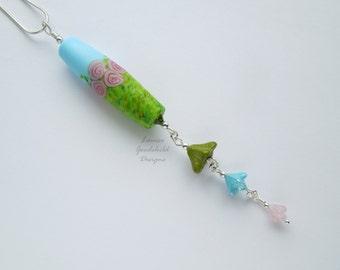 Rose Garden necklace, rose lampwork pendant, flower jewelry, rose jewelry, rose jewellery, nature inspired