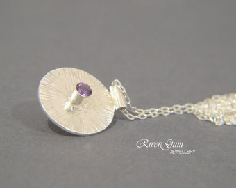 Amethyst & Sterling Silver Pendant, February Birthstone, Silver Disc Jewelry, Fabricated, Metalwork by RiverGum Jewellery