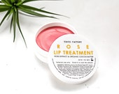 Rose Lip Treatment - Organic Cocoa Butter - Rose Extract -  Lip Balm - Lip Gloss - Lip Butter - Natural - Moisturizer - Vegan