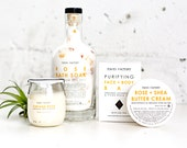 Deluxe Spa Set - Flat Rate Shipping - Free Gift Wrapping -  Natural Soap - Bath Soak - Soy Candle - Shea Butter Cream - Spa Gift - Natural