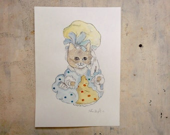 well dressed cat portrait original watercolor painting - wall art - pet portrait - home decor - pet lovers gift