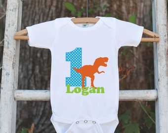 First Birthday T-Rex Outfit - Personalized Dino Bodysuit For Boy's 1st Birthday Party - Dinosaur Onepiece Birthday Outfit With Name & Age