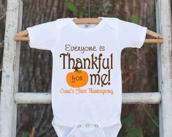 Thankful For Me Thanksgiving Shirt - Thanksgiving Onepiece - Thanksgiving Outfit for New Baby Boy or Baby Girl - First Thanksgiving Shirt
