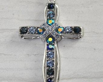 Gorgeous Sapphire Blues Rhinestone Cross Necklace
