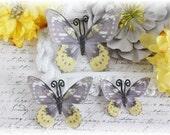 Hushed Summer Glitter Glass Butterflies for Scrapbooking, Cardmaking, Tag Art, Mixed Media, Wedding