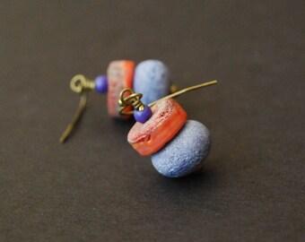 Lampwork Glass Earrings, Purple Earrings, Orange Earrings, Rough Matte Earrings, Glass Bead Earrings, Beaded Earrings