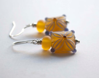 Amber Purple Earrings, Lampwork Glass Earrings, Square Earrings, Glass Bead Earrings