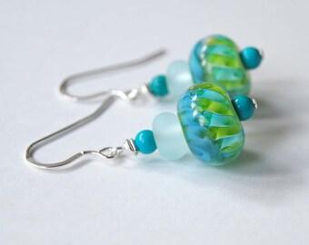 Lampwork Glass Earrings, Aqua Blue Earrings, Glass Bead Earrings, Unique Artisan Earrings, Beaded Earrings, Green Earrings