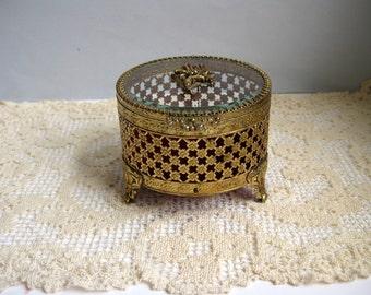 Vintage gold metal jewelry casket 1960s round trinket box
