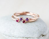 Dual Birthstone Ring - AAA Gemstones - Rose Gold