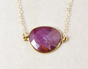 Pink Sapphire Necklace – Choose Your Sapphire – 14k Gold Filled
