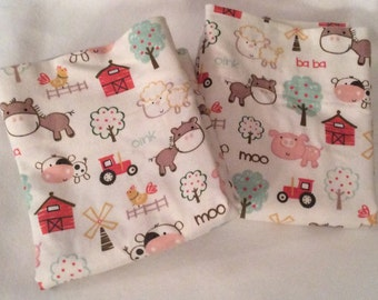 Farm Animals Flannel Pillowcase Set for Standard Size Bed Pillows Pillowcases with Personality