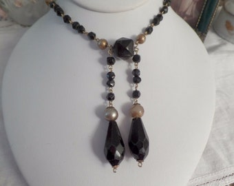 Victorian GLASS Black Beaded Pearl Necklace Flapper Mourning Faceted Crystal Necklace