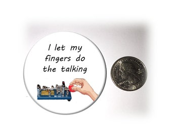 Fingers Do the Walking  Ham Radio Fridge Magnet  Locker Magnet  Morse Code Vibroplex Bug 2 1/4 inches in diameter (137)