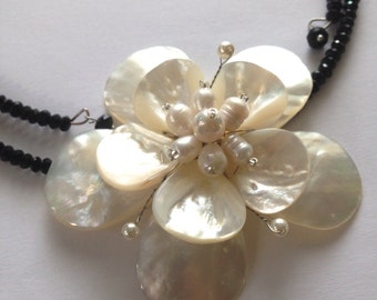 Black and White Statement Necklace Pearls and Shell Flower Necklace White One of a Kind Modern Wire Wrapped