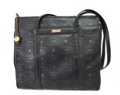 Vintage HCL Signature Black Shoulder Tote Handbag Designer Satchel Shoulder Bag made in Germany