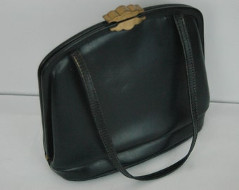 Gorgeous 1940's Navy Leather Handbag with Red Lining - World War II era Handbag