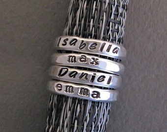 Personalized Sterling Rings, Stacking Name Rings, Stackable Mother's Rings