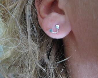 Hand Forged Stud Earrings. Sterling Silver Fun Earrings. Dainty Post Earrings