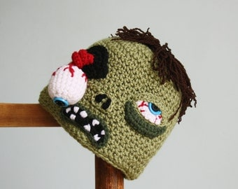 Zombie Hat, Crochet Beanie, Halloween Costume, Boy, Girl, Men, Women, Clothing, Accessories, Crochet Zombie, Zombie Costume, Monster