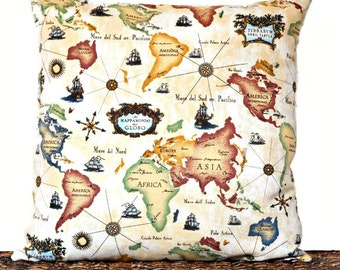 Old World Map Pillow Cover Cushion Continents Pirate Ships Mustard Green Blue Brown Beige Decorative Classroom Back To School 18x18