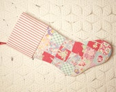 Festive Nine Patch Feed Sack Vintage Quilt Stocking with Ticking Cuff