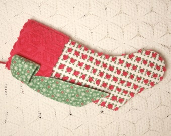 Red Rosebud and Red Snowflake Heirloom Vintage Chenille Christmas Stocking with Big Bow