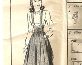 Vintage 40s Suspender Skirt and Blouse Pattern XS S 31 bust Swing Dance Lindy 1940s