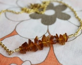 Amber Brown Glass Gold Bar Necklace | Stacked Brown Glass Chip Necklace