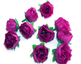 10 Small Violet Tea Roses - Artificial Flowers, Silk Roses