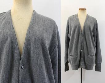 Boyfriend Sweater Vintage 1980s Grandpa Cardigan Heather Gray Oversize Button Front 80s Slouchy V Neck Preppy Retro Slouch Long Sleeve XL