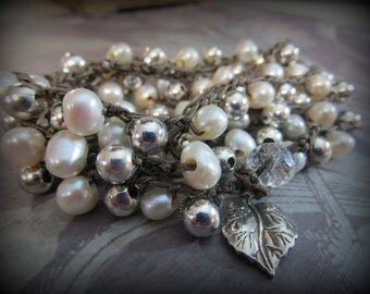 Crochet Wrap Bracelet Five Wrap x5 or Necklace Nylon Cord Freshwater Pearls