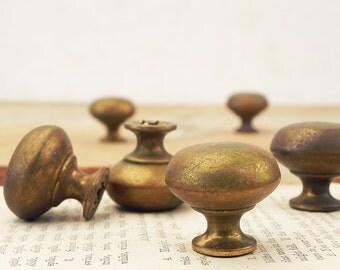 6 salvaged vintage brass drawer knobs handles Vintage Hardware