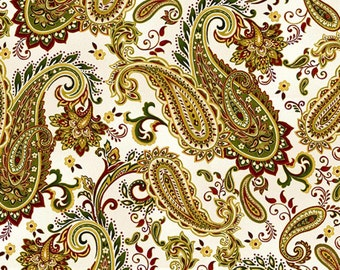Henry Glass - Christmas Splendor - Cream Paisley - Christmas holiday Fabric by the yard 8321M-44