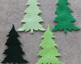 Emerald Isle - Large Christmas Trees - 12 Die Cut Wool Blend Felt Shapes