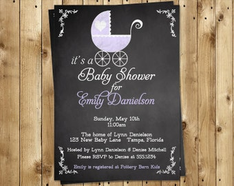 Chalkboard, Baby Shower Invitations, Girl, Vintage, Carriage, Purple, 10 Printed Invites, Chalk board, Customized, FREE Shipping, Blackboard
