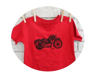 Red  Tshirt, Motorcycle Toddler T Shirt, Cotton Crewneck, Children's Graphic Tee