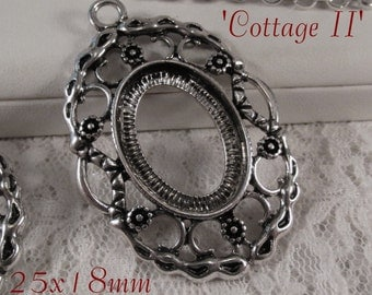 25x18mm Antique Silver Setting - 'Cottage II' - 1 pc : sku 08.07.15.6 - W41