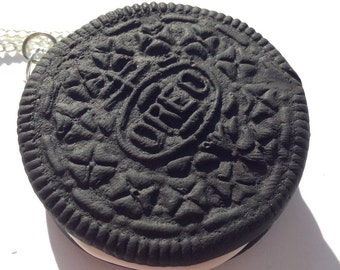 Funky polymer clay oreo necklace