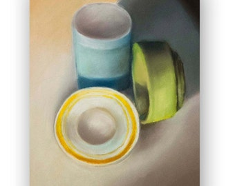 Original Pastel Drawing of Still Objects, Bowls, Kitchen Decor, Rives BFK Paper, Perfect for Your Kitchen, 19''x15''
