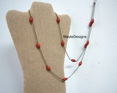 RED Necklace/Sponge Coral Long Stations Necklace/Natural Stones Necklace
