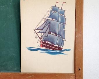 Vintage School Flashcard- Ship