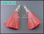 2 dark peach tassels, silk tassel jewelry pendants with silver filigree cap, Bohemian jewelry, Bohemian tassels 1553R-DP