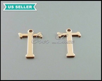 4 initial T, high quality shiny rose gold plated over brass, initial charm, initial pendant, initial jewelry 1907-BRG-T