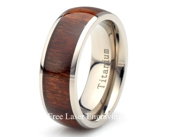 Titanium Wooden Ring, Mens Women's Wedding Band, Domed, wood ring, titanium wooden band, 8mm titanium ring, wood ring