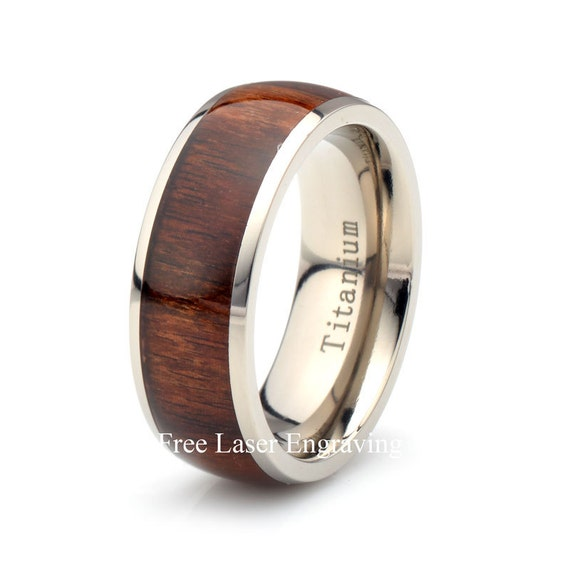 titanium wooden ring mens women 39 s wedding band domed. Black Bedroom Furniture Sets. Home Design Ideas