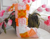 SWEETEST COTTAGE CHRISTMAS Stocking Vintage Chenille Patchwork Design